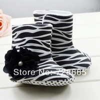Zebra black flowers baby toddler shoes boots91