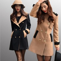 Autumn and Winter Women Coat casaco feminino inverno 2014  Fashion Double-Breasted Outerwear Women Medium-Long Wool Coat