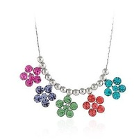 Free Shipping 2013 new NEOGLORY female Jewelry   small flower silver pendant Necklace made with SWA ELEMENTS crystal xgb8769