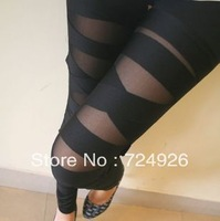 Free Shipping 2014 New  Ripped Cut-out Bandage Black  Lady Leggings Sexy  Trousers Leggins