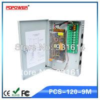 9CH 12V 10A CCTV DC Power Supply Box Auto-RESET / 12V10A 120W Monitor Power Supply / Switch Power Supply, 110/220V AC Input, CE