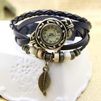 6 colors Vintage Leather Bracelet Batch with Leaf Pendant Women Leather Wristwatches 1piece/lot