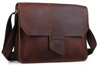 Men's messenger bags Leather satchel A4 document book bag brown designers brand shoulder bag for boy TIDING 10833