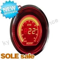 KYLIN  - 52mm 2inch Gauge EVO Digital Red / Blue LCD Boost Meter 35 PSI Smoke Lens
