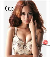 Free shipping China Wind embroidery flower sexy is designed specifically for plump women gathered adjustable bra C D cup W5042