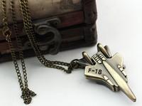 HongKong Post FreeShipping Reloj Children Military Airplane Pocket Watch Kids Analog Quartz Chain Necklace Timepiece,75CM TWN019