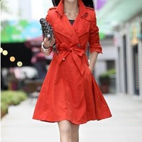 2014 womens Long-sleeve outerwear double breasted  slim fit female long trench design autumn and winter windcoat trench