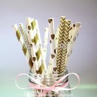 300pcs golden paper straws Party straws Environmental Gold/Silver paper straws Mixed Striped Stars Chevron patterns Wholesale