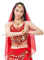 little Peppers  + Long gauze dress + veil belly dance set belly dance Indian dance performances Kit