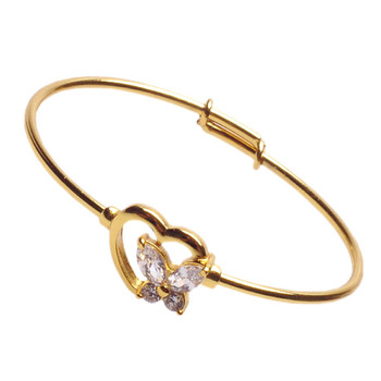 New 24K Gold Plated Polish Gold Bangle Kid Baby Bangles Heart Butterfly CZ Crystal Bangles Cuff Bracelet Gold Bracelet Lot 2PC