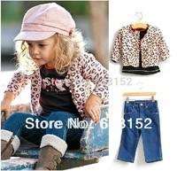 Hot Children Outwear Girls Leopard Suit 3pcs Kids Outfits Pink Leopard Coat+Puff Sleeve T shirt+Jeans Autumn Clothing Set