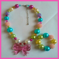 Min order is 10USD! Free shipping bow-knot pendant chunky beads necklace set for kids designs Can be wholesale