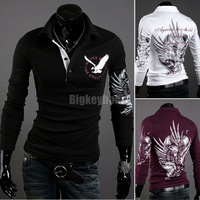 Mens Casual Formal Long Sleeve Eagle Tattoo Slim Fit  Shirt T-Shirt Top Free Shipping