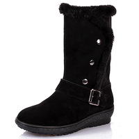 botas Rivet fashion snow boots genuine leather boots medium-leg cow muscle boots outsole buffalo hide cotton-padded shoes