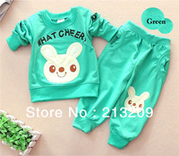 Hot selling Autumn girls clothes Bunny design Pink/rose/green/yellow Children Jacket+ T-shirt+ Pants Kid Clothing sets