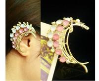 Fashion Charming Colorful Rhinestone Golden Metal Leaf Ear Cuff For Right Ear 4pieces/lot