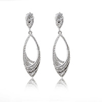 Free Shipping 2014 New Trendy Rhodium Oval Alloy Dangle Clip Earrings With Rhinestones TE-1-72