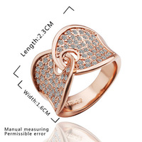 Christmas Gifts!Austrian Crystal Engagement Rings/Promise Ring 18K Rose Gold Plated Charm Jewelry Ring R253