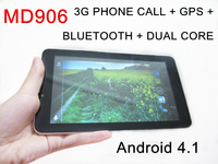 7 inch MTK6577 MD906 3G Phone call tablet pc Android 4.1 Dual Core 1GHz 4GB GPS Bluetooth dual sim dual camera
