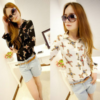 Free shipping Lapel shirt Retro orange tops Long-sleeved shirt  Printed chiffon Blouse