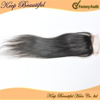 "Cheap! 100%  Peruvian Virgin Hair Lace Top Closure Natural Straight 10""-18"" Inch Free Part Bleached Knots DHL Free Shipping"