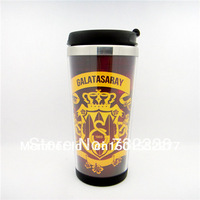 Free Shipping New Personality Galatasaray Club Football fans Stainless Steel Thermal Tumbler /12 OZ /Travel Mug Coffee Mug Cup/