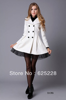 Fashion Women Slim Wool Blend Trench Double Breasted  Warm Coat Dress Jacket  4 Colors S M L XL