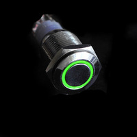 12V 16mm Green LED Angel Eye Metal Push Button ON-OFF Switch for Car Boat DIY