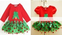 Free Shipping(5pcs/lot)2013 Children Girl's Dress Christmas Style Short Sleeves Green Polka Dot  Design Kid's Summer Wear 2013