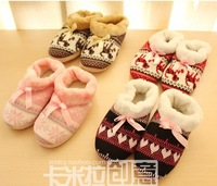 Autumn and winter  knitted jacquard bow slippers lovers home floor slippers package with rubber female cotton-padded slippers