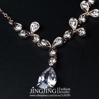 N092 Elegant! 18K Rose Gold Plated Rhinestones and Zircon Pendant Jewelry Necklace FREE SHIPPING