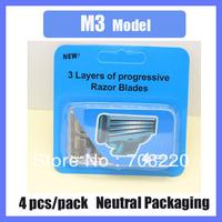 (400pcs/lot) Neutral Package Men's Razor Blades 4pcs/pack M3 model Free Shipping By DHL