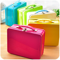 Candy color portable tin box desktop storage lock storage box