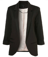 Women's three quarters sleeve blazers without button decoration for free shipping