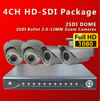 Free shipping by DHL, 4CH  Full HD1080P SDI DVR With 2 DOme and 2 BOX 2.8-12MM digital security cameras KIt /sdi cctv cameras