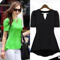 OL Womens Ladys Peplum Tops Frill Puff Sleeve Fitted Shirt Blouse Shirt