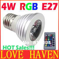 Retail 3W 4W E27 RGB LED Bulb 16 Color Change Lamp spotlight 110-245v for Home Party decoration with IR Remote