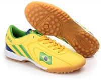 Free Shipping 2014 TIEBAO Brazil World Cup Professional Yellow Football Soccer Shoes For Adult Men Size 38-44