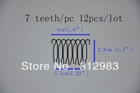 Freeshipping--7 teeth each(12 pcs total) 1.6*1.1*1.22 small wire spring comb wig comb clip snap for wig/hair weft/hair extension