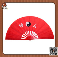 Chinese Traditional Handmade Tai Chi Fan 33cm red color with poly fabric