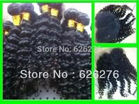 1PC Middle Apart 4x4 Closure and 3PCS Brazilian Virgin Hair Weft, 6A Hair extension,4PCS Lots,Match well,Virgin Deep wavy Hair