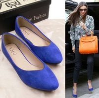 Europe pointed flat shoes matte suede shoes Claret plain flat with shallow mouth large size shoes navy blue