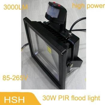 factory direct sale 30W IP65 85-265V waterproof PIR Motion sensor Induction Sense 5meters lamp LED Flood Light