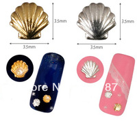 3.5mm 100PCS GOLD +100PCS SILVER SHELL Nail Art Metal Sticker Decoration, fashion Gold Decals, Metallic Stickers+Free Shipping