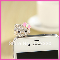 Free shipping new designs three-dimensional full diamond KT dust plug for cell phone Can be wholesale