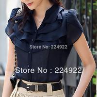 2014 Fashion Women Casual Vintage Chiffon Blouse Plus Size Blusa Com Renda Ladies Clothing Summer Tops Free Shipping