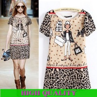 autumn -summer new 2013 high street woman casual dress party dresses Above Knee chiffon dress cartoon print dress