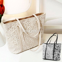 Womens Ladies Vintage Lace Pu leather Big Handbag Shopper Shoulder Tote Bag Free Shipping