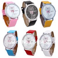 New Arrival Big Cat Design Ladies Quartz Wrist Watches 6 Colors For Choice