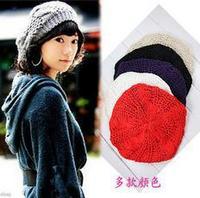 Popular winter lady warm Beret knitting hand knitting yarn hemp flowers hat wholesale  DM12031A